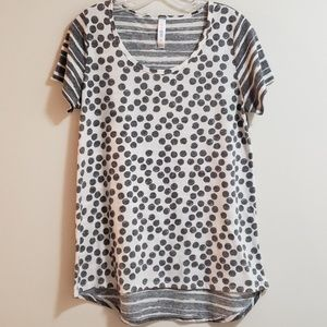 LuLaRoe Short-sleeve Top, Grey/White, Sz S